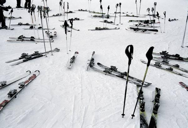 Ski Resort Photograph - Ski Equipment On The Slopes At A Ski by Martin Diebel