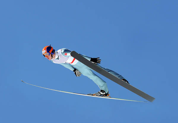Helmet Photograph - Ski Jumper Flying by Technotr