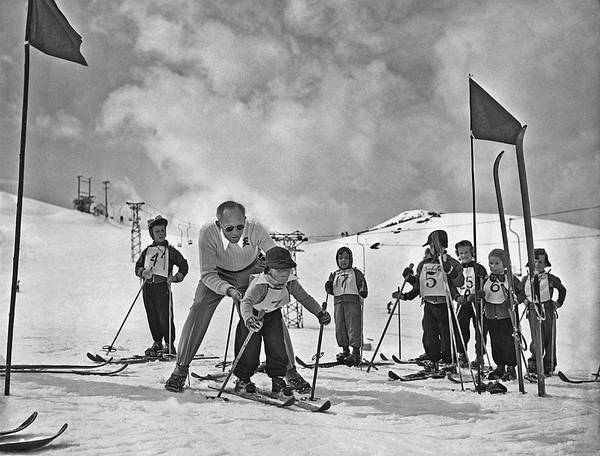 Skiing Photograph - Ski Lesson by Archive Photos