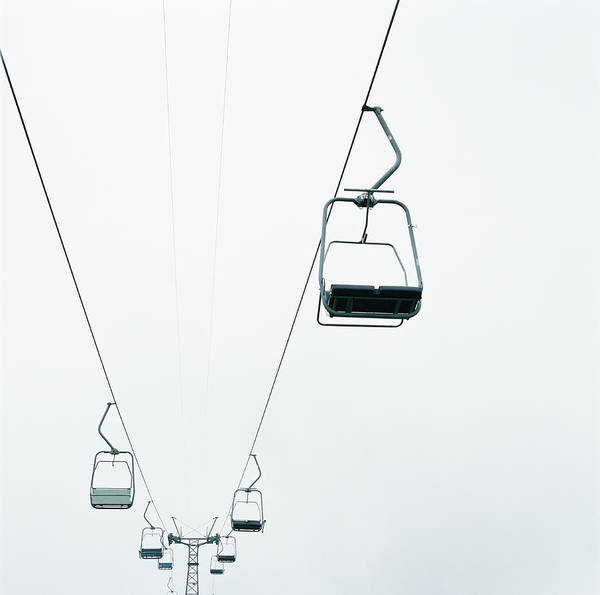 Photograph - Ski Lifts, Low Angle View by Mecky