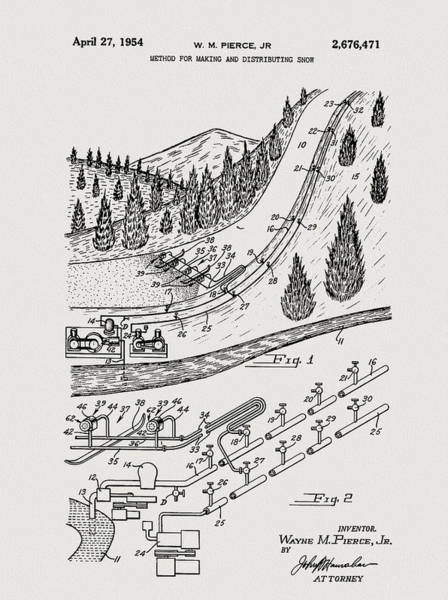 Drawing - Ski Resort Snow Machine Patent by Dan Sproul