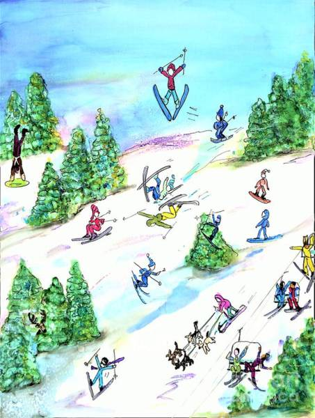Crazy Mountains Painting - Ski Slopes 3 by Patty Donoghue