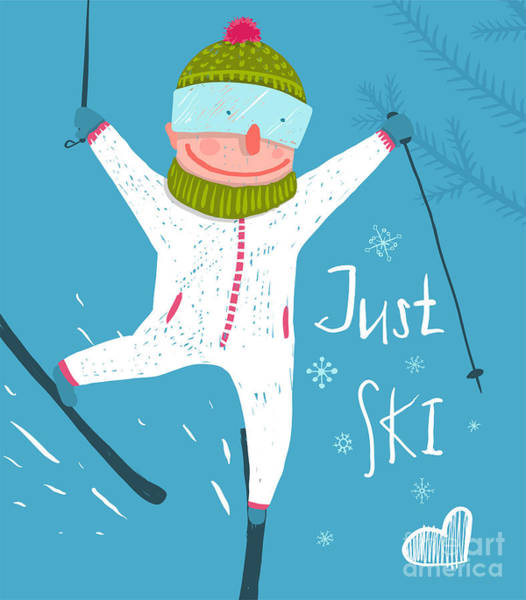 Wall Art - Digital Art - Skier Funny Free Rider Jump Fun Poster by Popmarleo