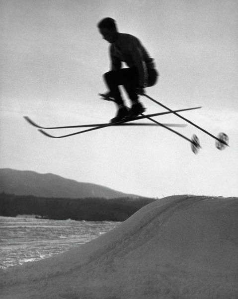 Ski Jumping Photograph - Skier In Mid Air by George Marks