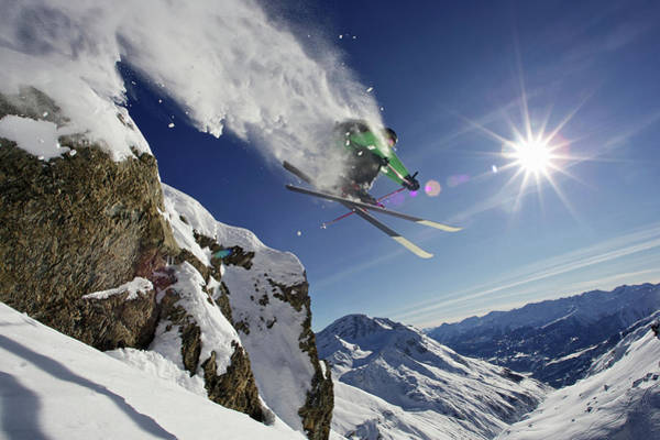 Only Man Photograph - Skier In Midair On Snowy Mountain by Michael Truelove