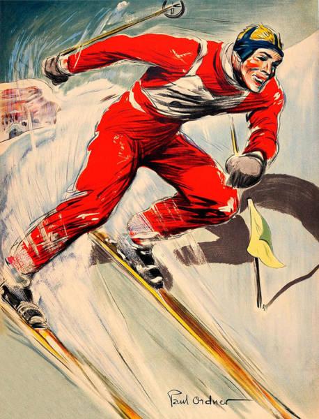 Ski Tracks Wall Art - Digital Art - Skier On The Run by Long Shot