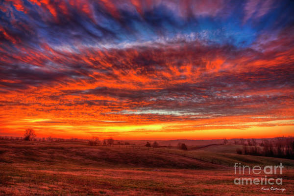 Photograph - Skies Ablaze 2 Northeast Georgia Sunrise Farming Landscape Art by Reid Callaway