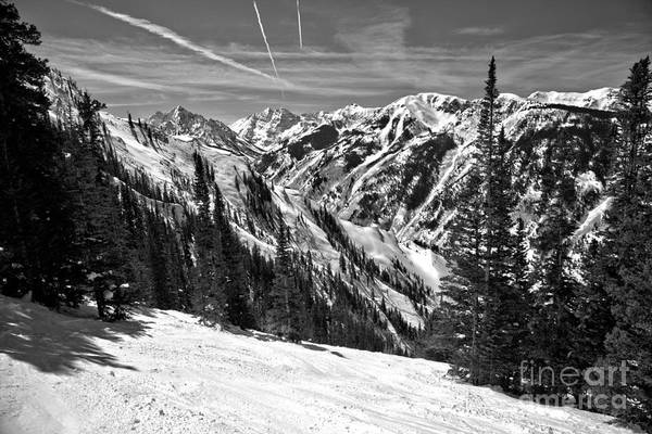 Photograph - Skiing By The Bells Black And White by Adam Jewell