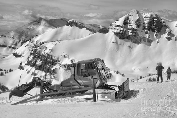Photograph - Skiing By The Snowcat Black And White by Adam Jewell