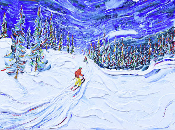 Painting - Skiing Print From Whistler by Pete Caswell