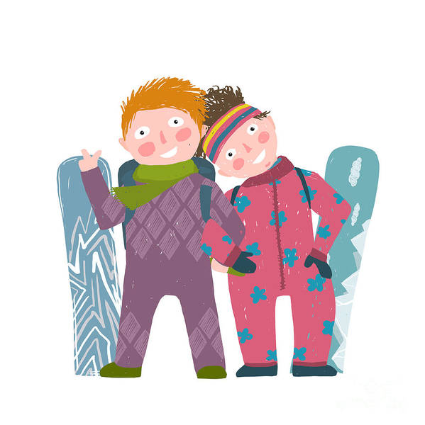 Skiing Sport Child Girl And Boy In Art Print