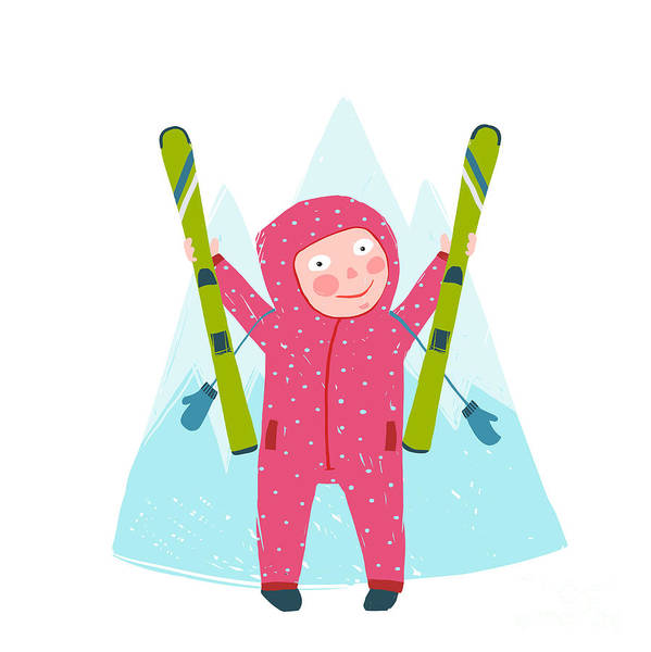 Wall Art - Digital Art - Skiing Sport Child Girl In Winter by Popmarleo