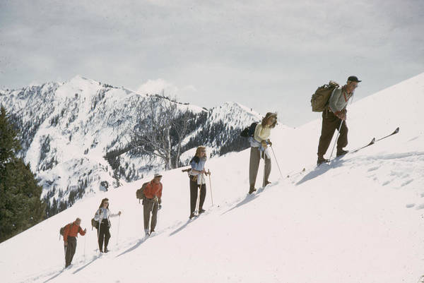 Alpine Skiing Photograph - Skiing Uphill by George Silk