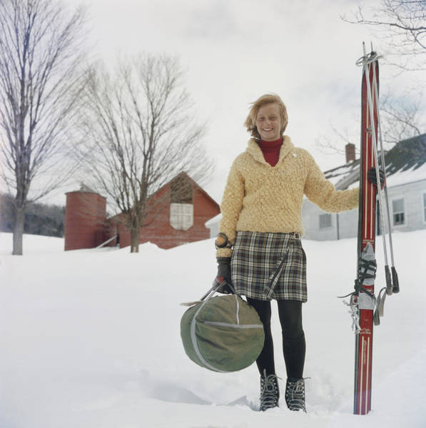 Smiling Photograph - Skiing Waitress by Slim Aarons