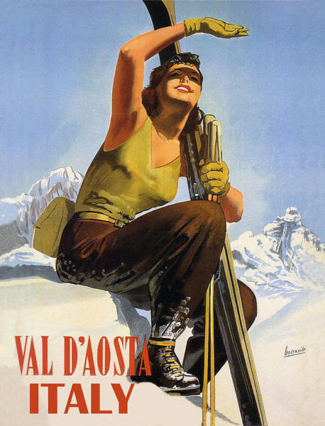 Valleys Digital Art - Skiing Woman In Italy by Long Shot