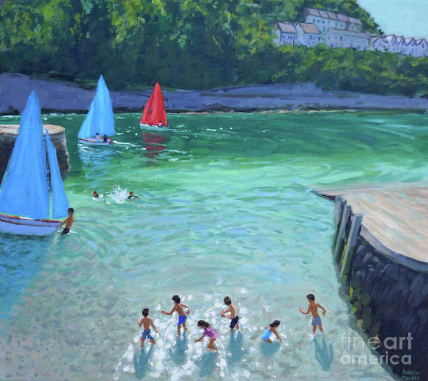 Wall Art - Painting - Skimming Stones, Looe, Cornwall, by Andrew Macara