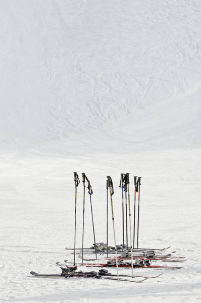 Ski Tracks Wall Art - Photograph - Skis And Ski Poles In Soelden, Tyrol by Felbert+eickenberg