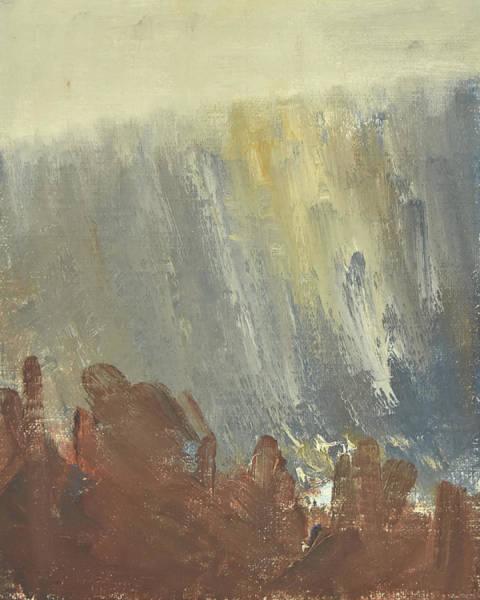Painting - Skogklaedd Fjaellvaegg I Hoestdimma- Mountain Side In Autumn Mist, Saelen _1237, 90x120 Cm by Marica Ohlsson