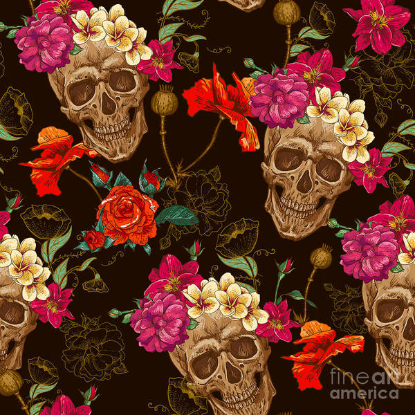Wall Art - Digital Art - Skull And Flowers Seamless Background by Depiano