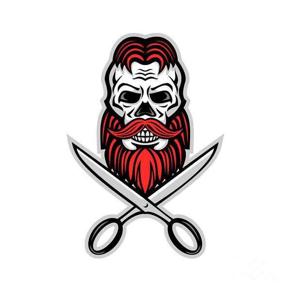 Wall Art - Digital Art - Skull Hair And Beard Scissors Mascot by Aloysius Patrimonio