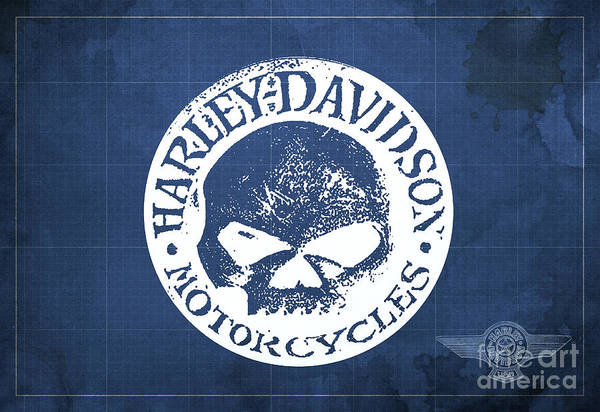 Wall Art - Digital Art - Skull Harley Davidson Tank Logo Blue Background by Drawspots Illustrations