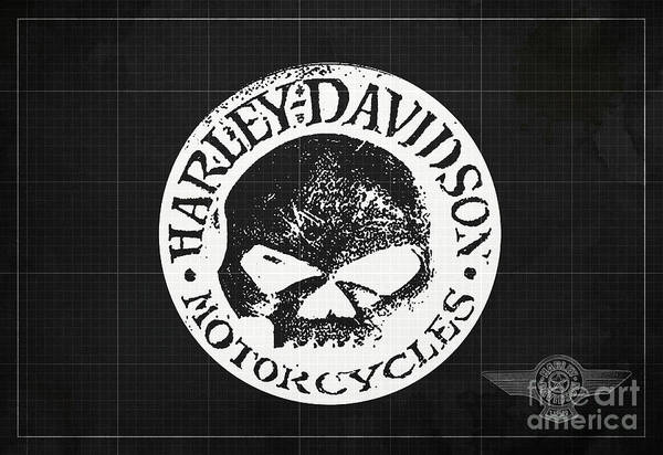 Wall Art - Digital Art - Skull Harley Davidson Tank Logo Dark Grey Background by Drawspots Illustrations