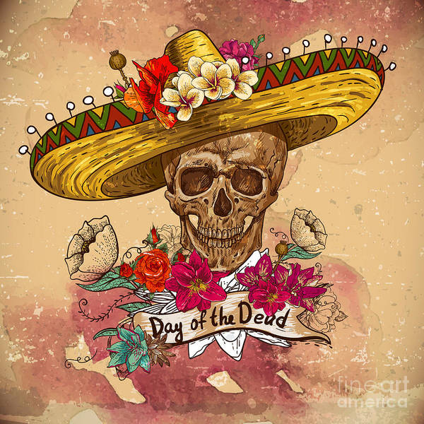 Wall Art - Digital Art - Skull In Sombrero With Flowers Day Of by Depiano