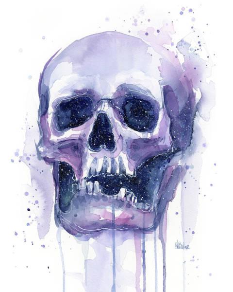 Zodiac Wall Art - Painting - Skull In Space by Olga Shvartsur