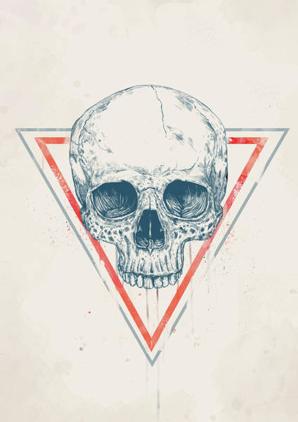 Wall Art - Drawing - Skull In Triangles by Balazs Solti