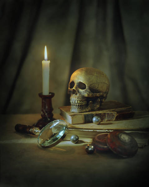 Rochester Photograph - Skull, Magnifying Glass, Candle And by Chris Clor