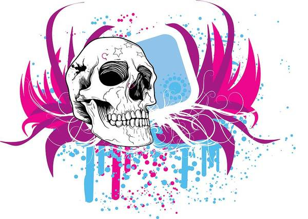 Digital Art - Skull Splashes Street Art by Passion Loft