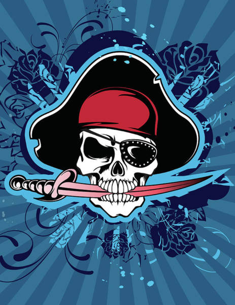 Bite Wall Art - Digital Art - Skull With Pirates Hat, Eyepatch And by New Vision Technologies Inc