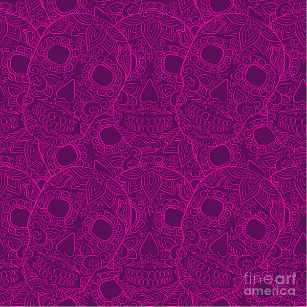 Wall Art - Digital Art - Skulls Seamless Pattern by Lunarus