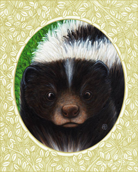 Painting - Skunk Portrait - Cream Border by Amy E Fraser