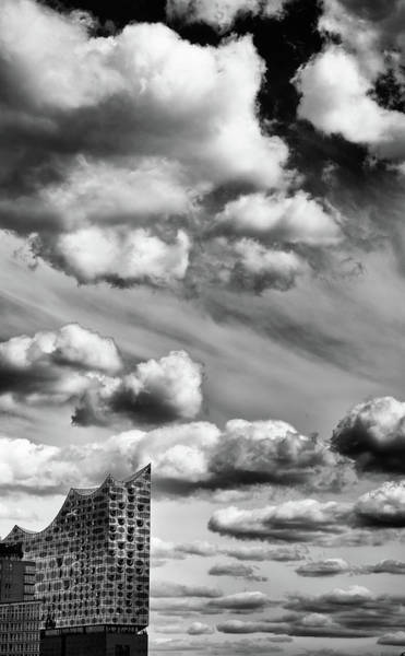 Wall Art - Photograph - Sky And Clouds And Elphi - Elbphilharmonie Hamburg Black And White by Matthias Hauser