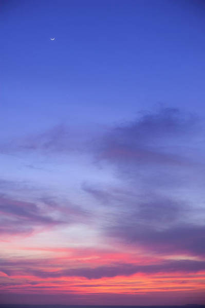 Jalisco Photograph - Sky And Silver Moon At Sunset Over by Mark D Callanan