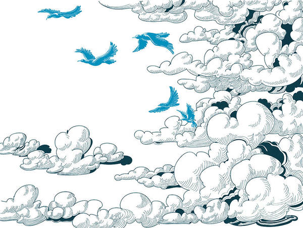 Sky Background, Clouds And Blue Birds Art Print