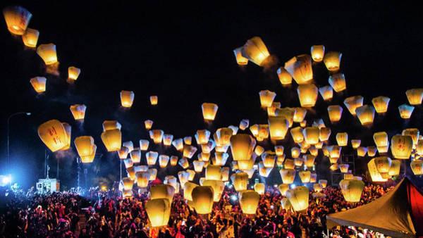 Taiwanese Wall Art - Photograph - Sky Lantern Festival Taiwan by Cjfan