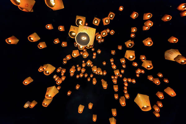 Luck Photograph - Sky Lanterns Launching Into The Sky by Jung-pang Wu
