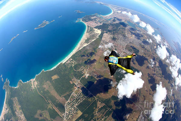 Brazil Wall Art - Photograph - Skydive Wing Suit Over Brazilian Beach by Rick Neves