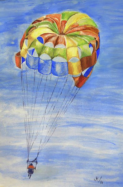 Wall Art - Painting - Skydiving by Maria Woithofer