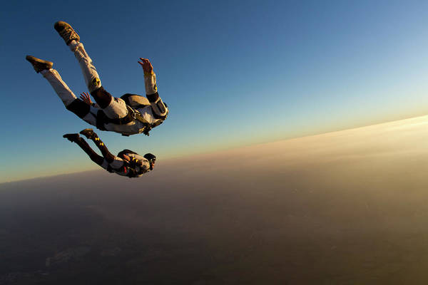 Upside Down Photograph - Skydiving Track Sunset by Rick Neves