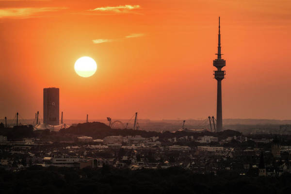 Photograph - Skyline And The Olympic Tower - Munich, Germany by Nico Trinkhaus