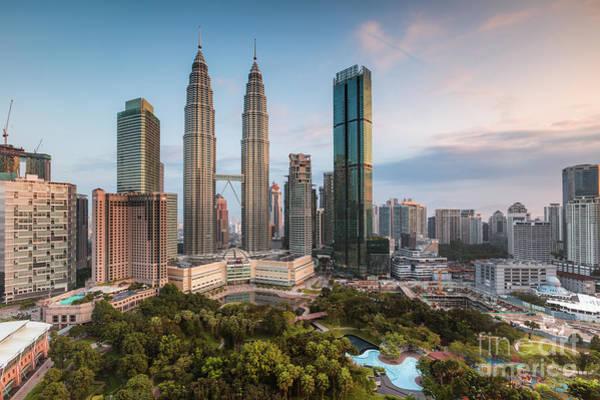 Wall Art - Photograph - Skyline At Sunrise, Kuala Lumpur, Malaysia by Matteo Colombo