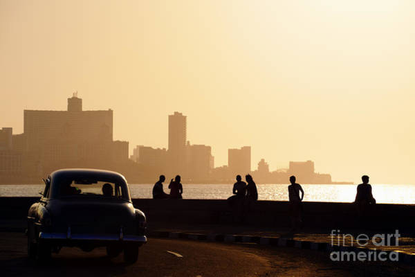Skyline In La Habana, Cuba, At Sunset Art Print