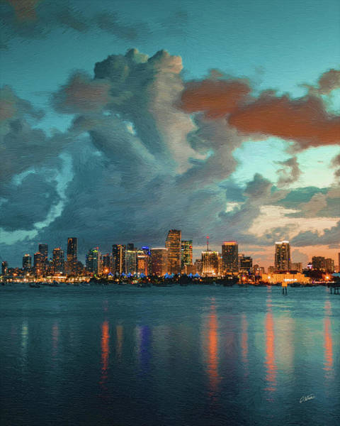 Painting - Skyline Miami, Usa by Dean Wittle