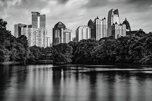 Photograph - Skyline Of Atlanta In Black And White Monochrome by Gregory Ballos