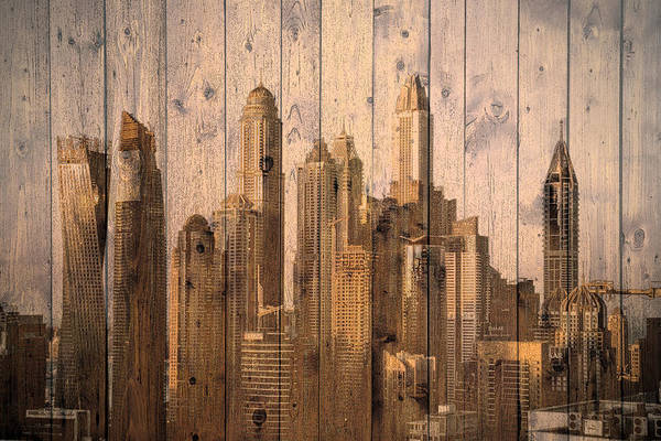 Digital Art - Skyline Of Dubai, Uae On Wood by Alex Mir