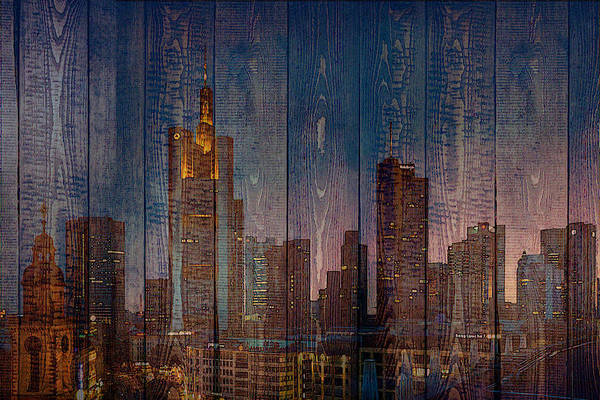 Digital Art - Skyline Of Frankfurt, Germany On Wood by Alex Mir