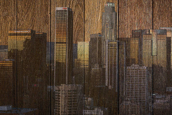 Digital Art - Skyline Of Los Angeles, Usa On Wood by Alex Mir